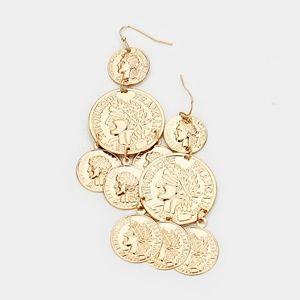 Cute Gold Multi Coin Layered Drop Dangle Earrings